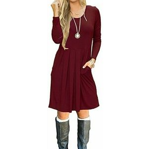 Wine Red T-shirt Dress with Pockets